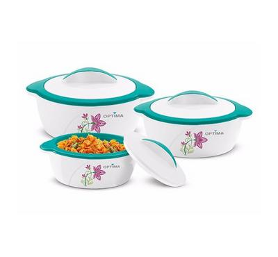 Optima, 3.5L Food Casserole Hotpot Jumbo 3pcs Set, Green/White