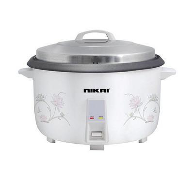 Nikai 5.6 L Capacity Rice Cooker 1780W, Double Thermosatat Control, White.