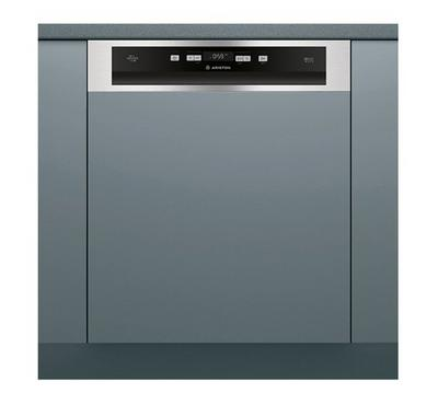 Ariston Built In Dishwasher, 60cms, Semi Integrated, 14 Place Settings, 9 Wash Program,Inox Silver