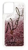 Karl Lagerfeld Transparent Case with Glitter and Signature iPhone 11 Pro,Pink