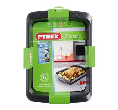 Pyrex CLASSIC, 40x30cm Rectangular Roaster Pan, Steel Black