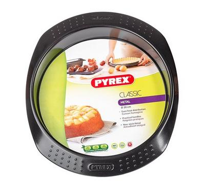 Pyrex CLASSIC 20cm Round Bakeware Cake Pan, Steel Grey