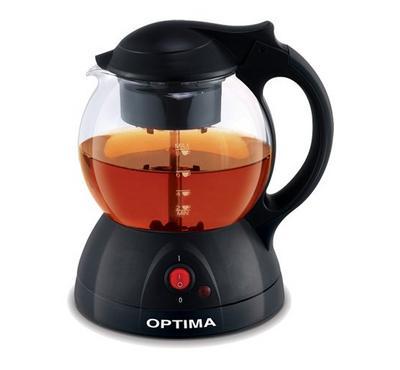 أوبتيما آلة صنع قهوة و شاي زجاجية، 1 لتر، 600 واط، أسود