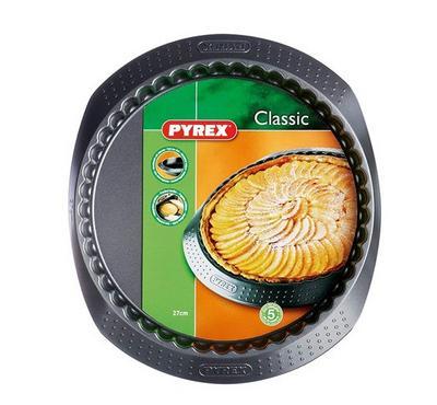 Pyrex CLASSIC 27cm Round Bakeware Flan Pan Steel Black