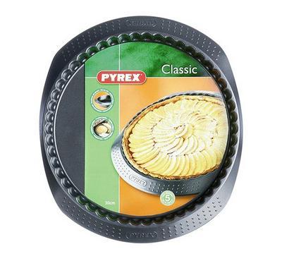 Pyrex CLASSIC 30cm Round Bakeware Flan Pan Steel Black