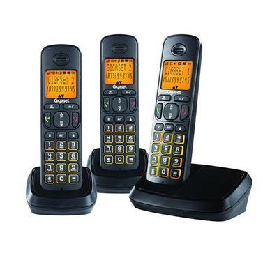 Gigaset A500 Trio Cordless Landline Phone Black