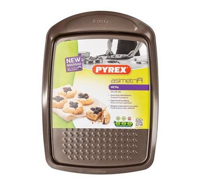 Pyrex Asimetria, 33x25cm Rectangular Baking Pan, Steel Brown