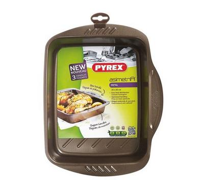 Pyrex ASIMETRIA 25x20cm Rectangular Roaster Pan Steel Brown