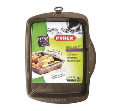 Pyrex ASIMETRIA 35x27cm Rectangular Roaster Pan Steel Brown