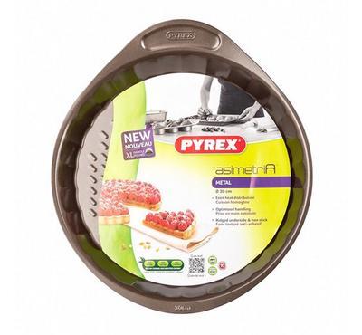 Pyrex ASIMETRIA 27cm Round Bakeware Flan Pan, Steel Brown