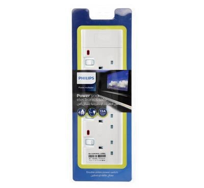 Philips, 4Way Uk Type Socket With Individual Switches, 3M,  Wihte