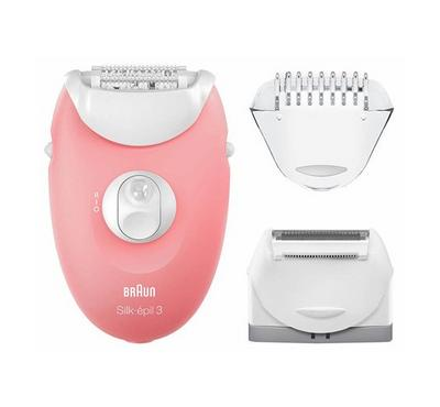 Braun Silk-epil 3 Starter 3-in-1 Hair Removal Set for Legs and Body with Epilator.White/Pink