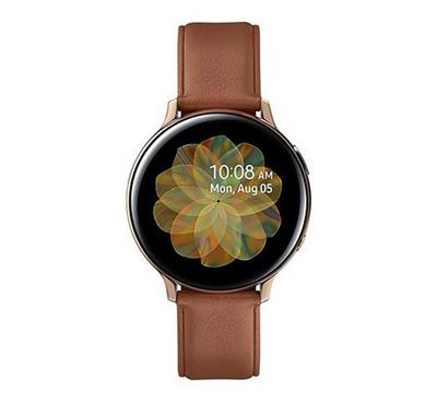 Galaxy Watch Active 2  44MM Stainless Steel, Rose Gold, Brown Leather