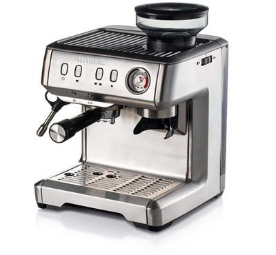 Ariete Espresso Coffee Machine with Integrated Coffee Grinder, Cappuccino, 15 bar 1600W,Silver