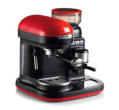 Ariete Moderna Espresso Coffee Machine with Integrated Coffee Grinder, Cappuccino. 15Bar,Red
