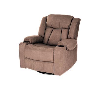 HOMEZ Rocking & Swivel Recliner Armchair, Brown
