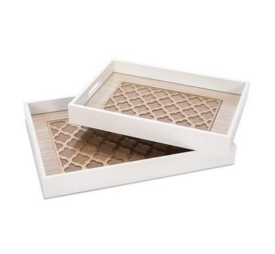 2 Pcs Rectangle Serving Trays With Glass Gold 30*40*4.5Cm,25*35*4.5