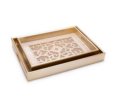 2 Pcs Rectangle Serving Trays With Glass Gold 30*40*4.5Cm,25*35*4.5Cm