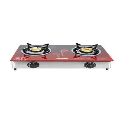Geepas 2 Burners Glass Top Gas Cooker,Stainless steel body, Red