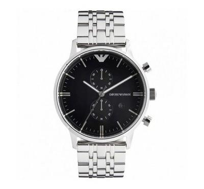 Emporio Armani, Men's Watch, Silver With Black Dail