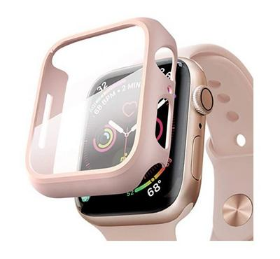 Hyphen Apple Watch Shock Proof Protector Tempered Glass 44mm, Rose Gold