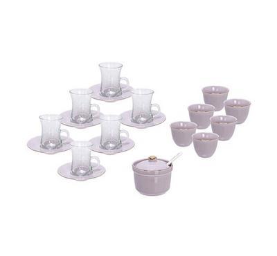 طقم شاي و قهوة عربي 20 قطعة لون رصاصي