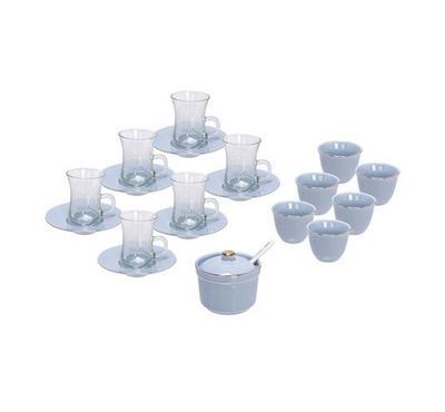 20 Pcs Of Arabic Tea Glass & Porcleain Saucer & Cawa Cups Basic Design Blue Color