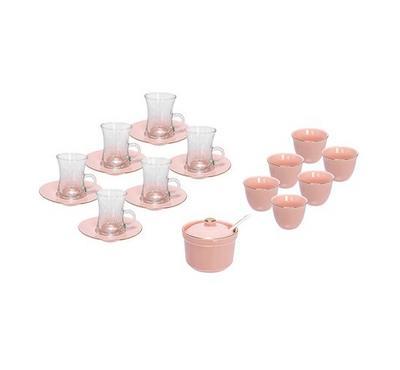 طقم شاي وقهوة 20 قطعة وردي