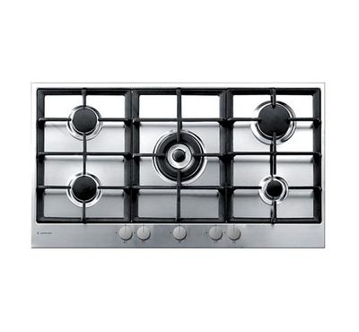 Ariston Built-in Hob 90 cms, 5 Burners, Cast Iron Grids, Full Safety, Inox