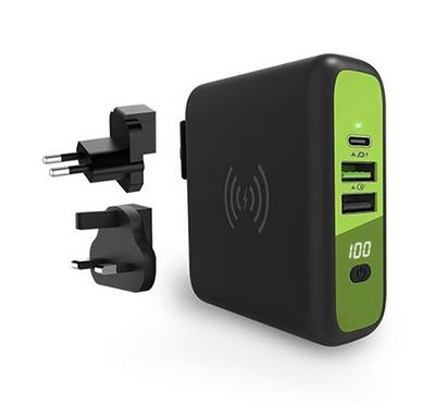 Goui Wall Charger with Power Bank 8000  with Wireless Charger, Black