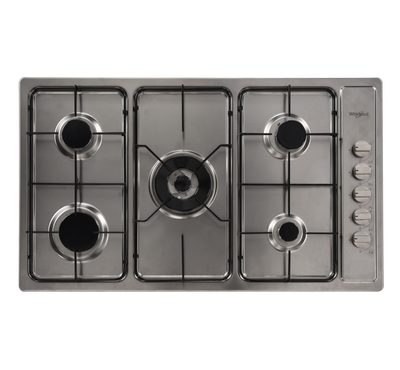 Whirlpool Built-in Gas Hob 90Cms,5 GAS BURNERS, Staineless Steel