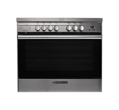 Glem Gas Freestanding Cooker, 90X60, Ceramic Cooktop, Electric Oven, Stainless Steel