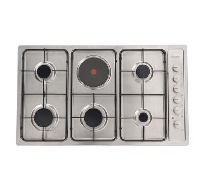 Ariston Built-In Hob 90cms, 5 Gas Burners 1 Electric Plate,Stainless Steel