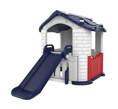 Playhouse With Slide White + Blue + Red