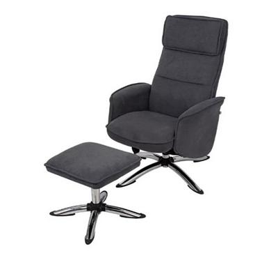 Recliner Chair, With Stool, Dark Grey
