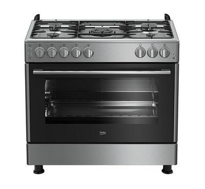 Beko Gas Cooker, 90X60, 5 Burners, Cast Iron, Full Safety, Stainless Steel