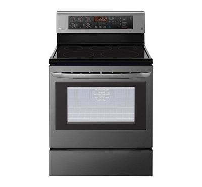 LG Freestanding Electric Range 4 Black Ceramic Hobs 1 Warming Zone, Black Stainless Steel