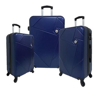 Travel Home, Soft Set Of 3 Luggage Trolley Case 20/24/28, Navy