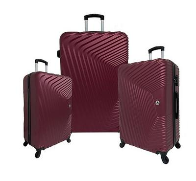 Travel Home, CurveSet Of 3 Luggage Trolley Case 20/24/28, Burgundy