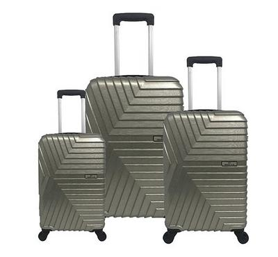 Travel Plus, Arrow Set Of 3 Luggage Trolley Case 20/26/30, Khaki