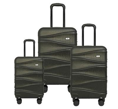 Travel Plus, Wavy Set Of 3 Luggage Trolley Case 20/26/30, Dark Grey