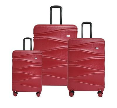Travel Plus, Wavy Set Of 3 Luggage Trolley Case 20/26/30, Red