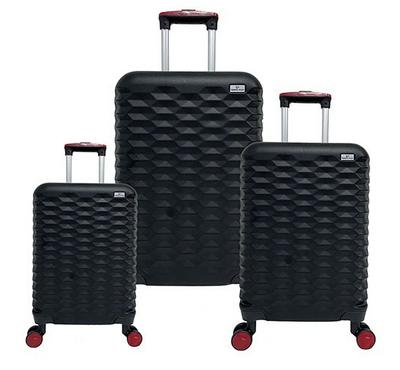 Travel  Plus, Honey Comb Set Of 3 Luggage Trolley Case 20/26/30, Black