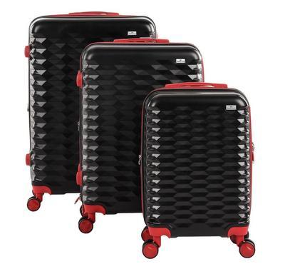 Travel Plus, Honey Comb Set Of 3 Luggage Trolley Case 20/26/30, Black