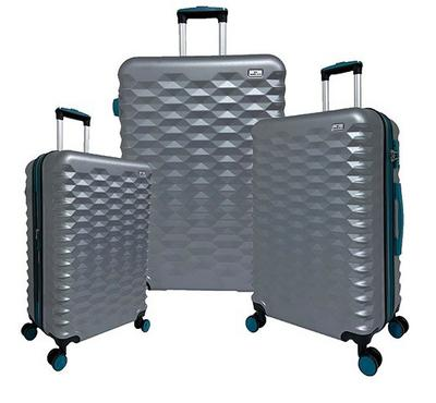 Travel Plus, Honey Comb Set Of 3 Luggage Trolley Case 20/26/30, Grey