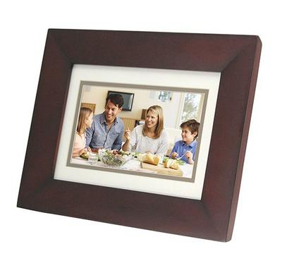 Cavot, 7 inch Digital Photo Frame, Clock, Calendar, Espersso Wooden Frame