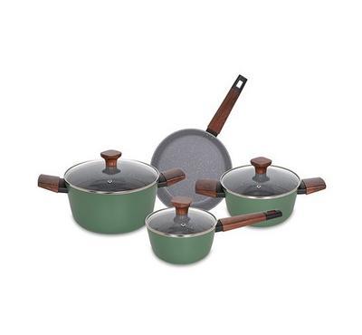 Alberto, 7Pcs Non Stick Matt Green Cookware Set W/Wooden Handles and Glass Lid
