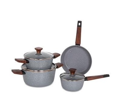 Alberto, 7Pcs Non Stick Grey Cookware Set W/Wooden Handles and Glass Lid