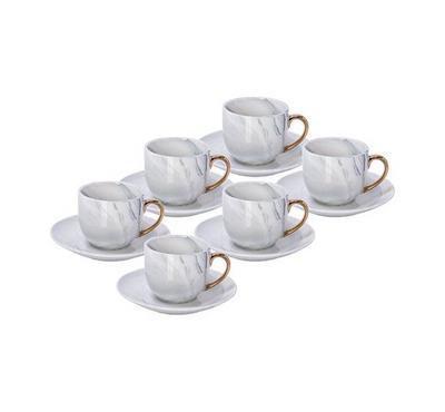 La Mesa, 12Pcs Grey Marble W Gold Coffee Set