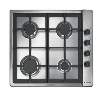 Candy Gas Hob 60cm Lateral, 4 burners, 4 Knobs, cast Iron Grids, Inox